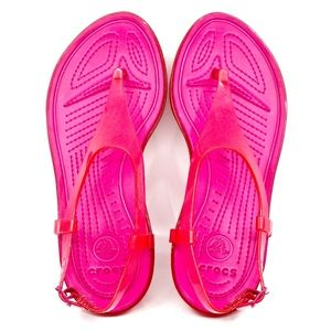 CROCS~jelly slingback~THONG RUBBER WEDGE SANDAL